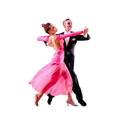 Couple dancers ballroom dancing vector