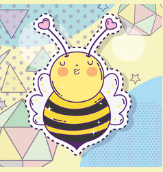 Cute bee sticker with stars and geometric figures vector