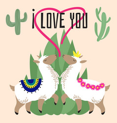 Cute cartoon alpaca in love - mexican lama card vector