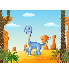 Cute dinosaur posing with the desert background vector