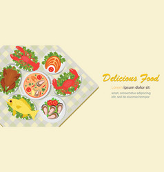 Delicious food lunch menu with chicken salad and vector