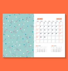 Desk calendar template for june 2020 week starts vector