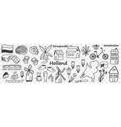 Dutch traditional symbols doodle set vector