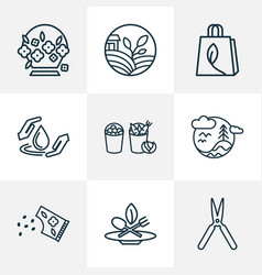 ecology icons line style set with eco food flower vector image