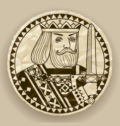 face of king on round crumpled paper background vector image