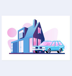 Family house village or town suburb property vector