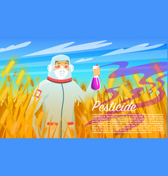 Farmer spraying pesticide and chemicals treatment vector