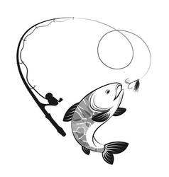 Fish and fishing rod silhouettes vector