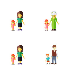 flat icon family set of grandchild boys daugther vector image