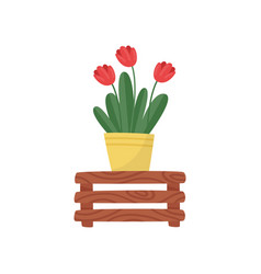 flat icon of yellow ceramic pot with red vector image