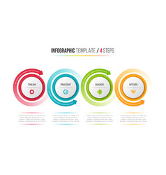 four steps infographic process chart with circular vector image