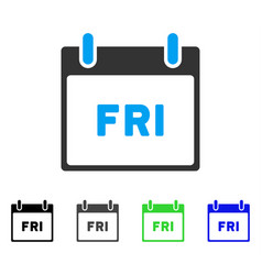 Friday calendar page flat icon vector