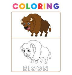 Funny bison coloring book with example preschool vector