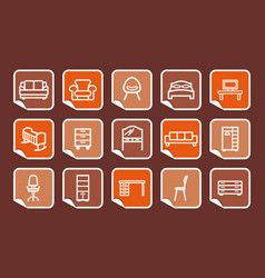 furniture icons on stickers vector image