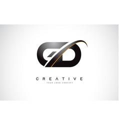 gd g d swoosh letter logo design with modern vector image