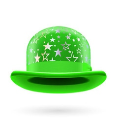 Green starred bowler hat vector image