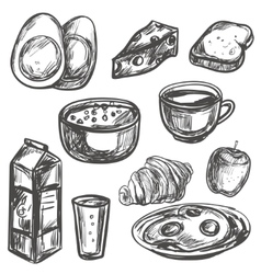 hand drawn breakfast food vector image