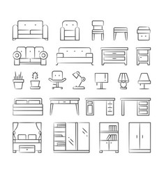 Hand drawn living room furniture icons on white vector