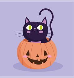 happy halloween black cat inside pumpkin trick vector image