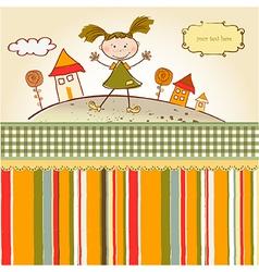 Happy little girl vector