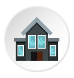 House fired at windows icon circle vector