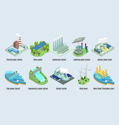 isometric environmental eco plants set vector image