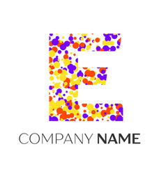 letter e logo with purple yellow red particles vector image
