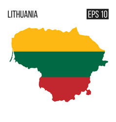 lithuania map border with flag eps10 vector image