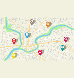 map city with gps pins direction markers vector image