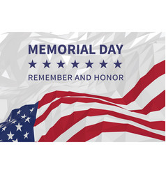 Memorial day day us flag in triangular style vector