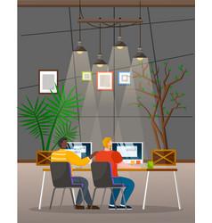 Men work on computers interior office room vector
