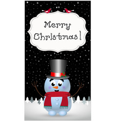 merry christmas greeting card of cute cartoon vector image