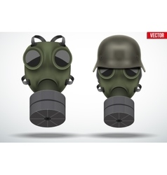 Military german helmet with gas mask vector