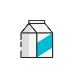 Milk packet outline color icon vector