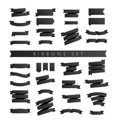 modern minimalist set black ribbons isolated vector image