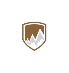 mountain logo on a shield emblem vector image
