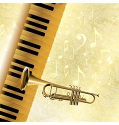 musical background piano keys and trumpet jazz vector image