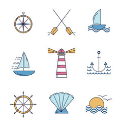 ocean travel thin line icons in color vector image
