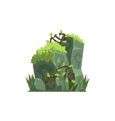 Old Stones Covered In Moss Jungle Landscape vector