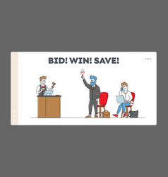 Online auction landing page template auctioneer vector