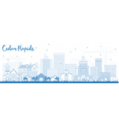 outline cedar rapids iowa skyline with blue vector image