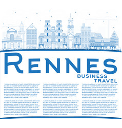 Outline rennes france city skyline with blue vector