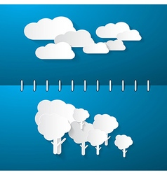 Paper Clouds and Trees on Blue Notebook Background vector