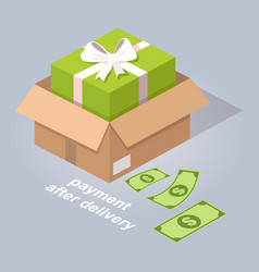 Payment after delivery online service vector