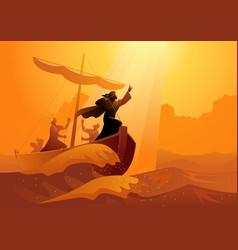 Peace be still jesus calms storm vector