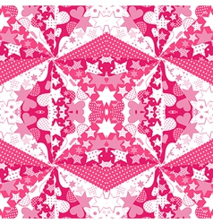 Pink background with hearts and stars vector image