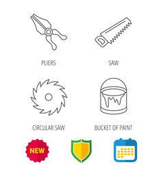 Pliers circular saw and bucket of paint icons vector