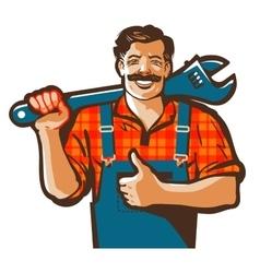 Plumbing services logo plumber worker vector