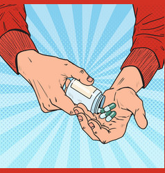 pop art man holding bottle with medical drugs vector image