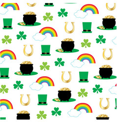 printst patricks pattern with rainbows vector image